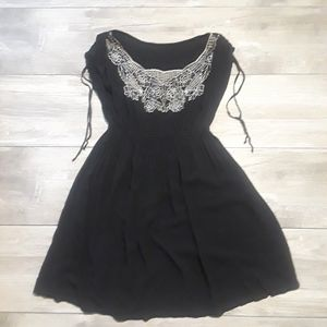 Vintage Lace Bib Flutter Dress